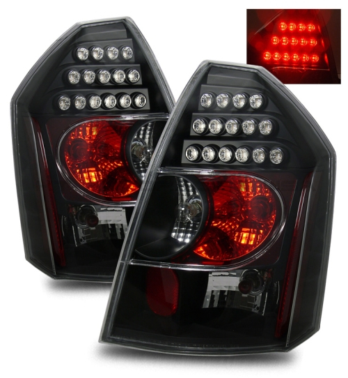 Chrysler 300 2006 Black Led Tail Lights: FOR 05-07 CHRYSLER 300C SRT8 VIP STYLE BLACK LED TAIL